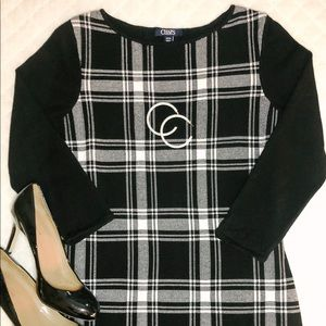 Chaps Black and White Plaid Sweater Dress